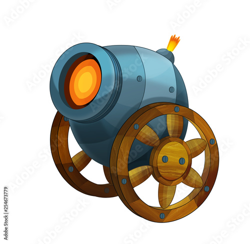 Leinwand Poster Cartoon cannon shooting steel ball on white background - illustration for the ch