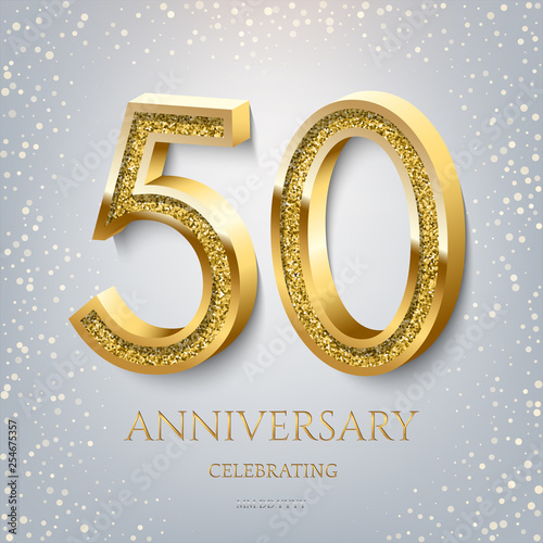 Photo 50th Anniversary Celebrating golden text and confetti on light blue background