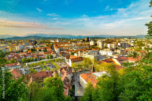 Fototapety, obrazy: View from the funicular railway to Ljubljana Castle