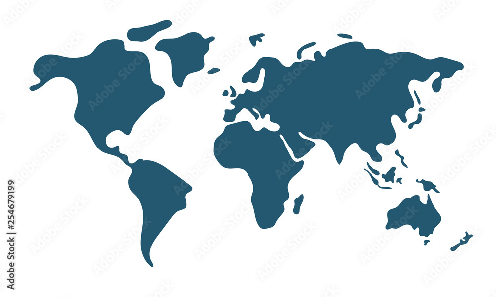 Fototapety, obrazy: Simple world map in flat style isolated on white background. Vector illustration.