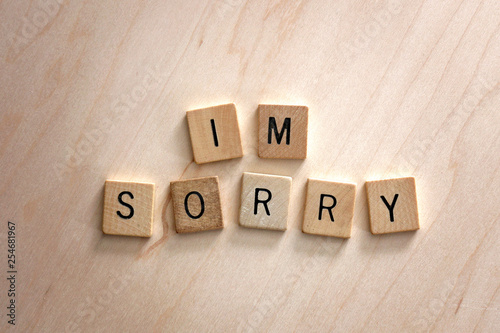 Pinturas sobre lienzo  Words I'm Sorry Spelled out in Wooden Letter Blocks on Wood Background