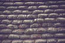Sandbag Bunker Background.selective Focus And Space Put Your Text