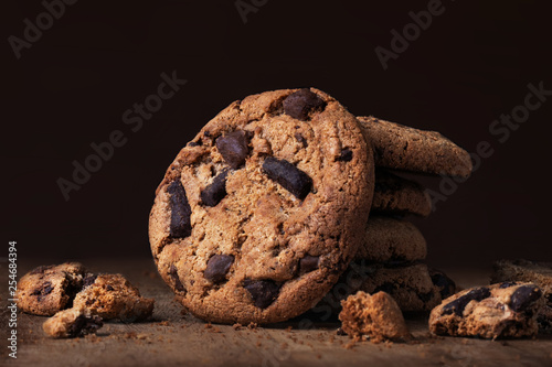 Chocolate chip  cookies on wooden table Wallpaper Mural