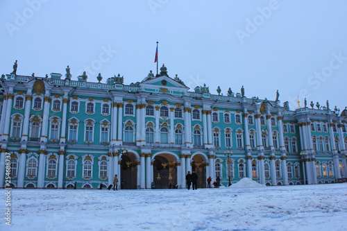 Winter Palace At Palace Square In Saint Petersburg Russia
