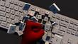 Weiße Tastatur gebrochen mit rote Faust