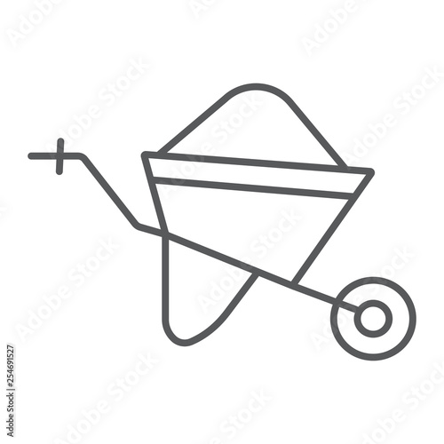 Wheelbarrow thin line icon, trolley and tool, cart sign, vector graphics, a linear pattern on a white background Fototapete