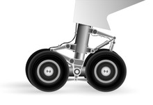 The Chassis Of The Modern Aircraft When Landing On The Runway. Wheels Rotate Rapidly.