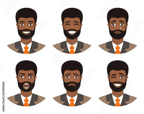 Set Of Mens Avatars Expressing Various Emotions Joy Sadness