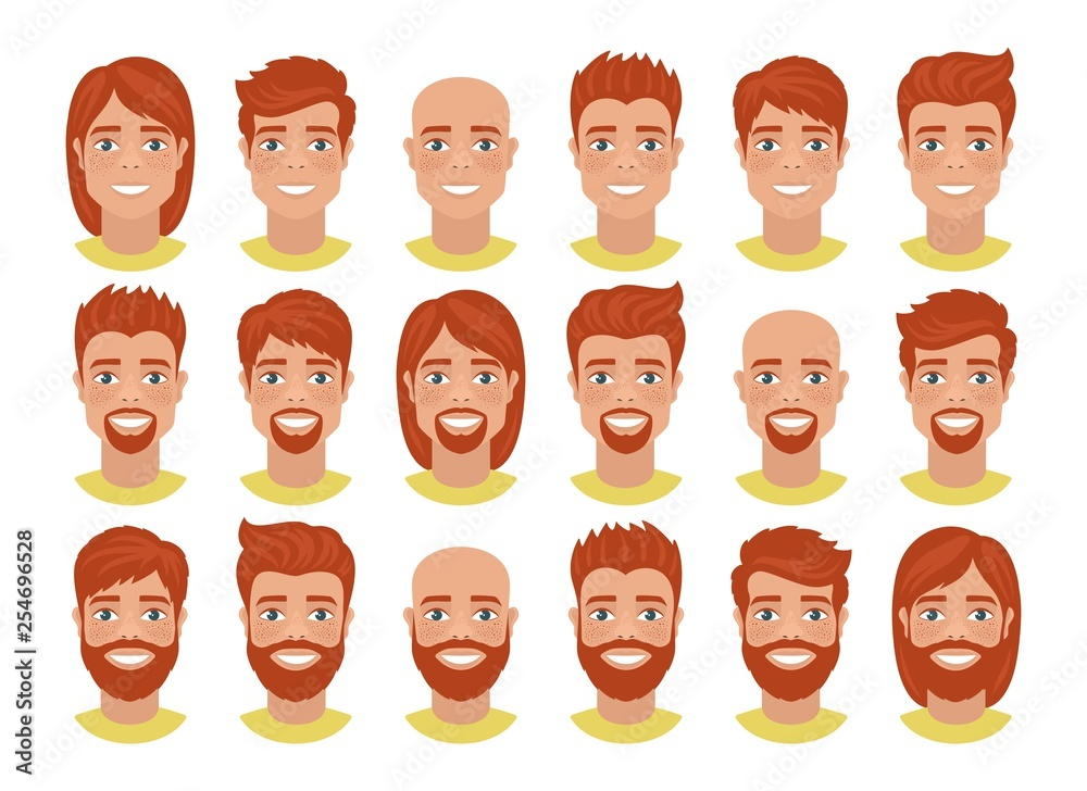 Fototapeta Set of mens avatars with various hairstyles: long or short hair, bald, with beard or without. Redhead guys. Cartoon portraits isolated on white background. Flat style. Vector illustration.