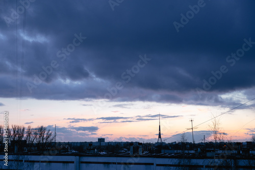Fotografering  Cityscape with wonderful varicolored vivid dawn