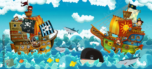 Aluminium Prints Pirates cartoon scene with pirates on the sea battle - illustration for the children