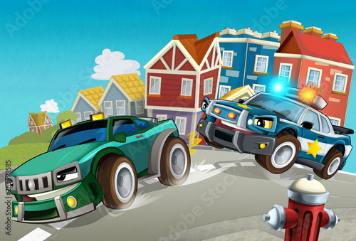 Foto op Canvas Cars cartoon off road car chase with police - illustration for children