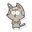 sticker of a happy cartoon cat
