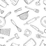 Bezszwowe wektor wzór elementów z ręcznie rysowane przyprawy na białym tle.