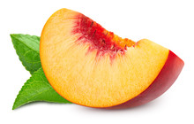 Peach Fruits With Leaf Isolated