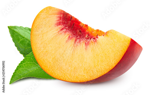 peach fruits with leaf isolated Fotobehang
