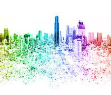 Colorful City Skyline Illustra...