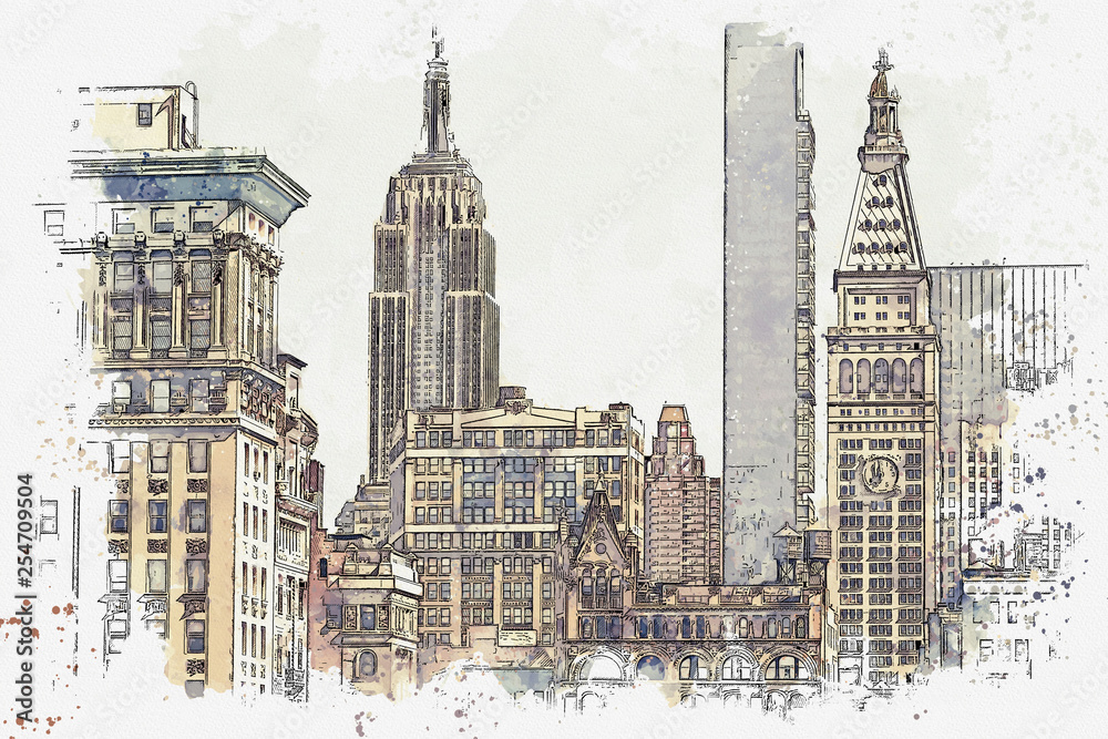 Fototapety, obrazy: Watercolor sketch or illustration of a beautiful view of the New York City with urban skyscrapers