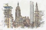 Fototapeta Nowy Jork - Watercolor sketch or illustration of a beautiful view of the New York City with urban skyscrapers