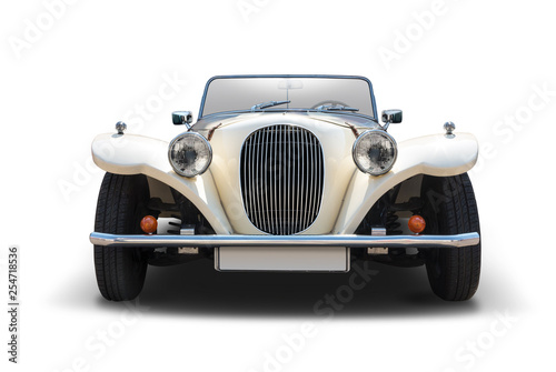 La pose en embrasure Vintage voitures Antique cabrio car front view isolated on white