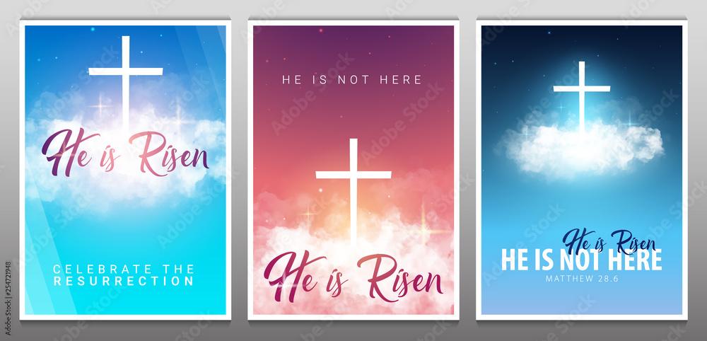 Fototapety, obrazy: He is risen. Christian easter scene. Saviour's cross on dramatic sunrise scene.