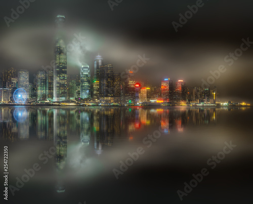 Fototapety, obrazy: Skyline of Hong Kong in mist, view from Kowloon island, China