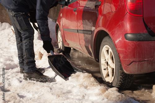 Fotografie, Obraz  car stuck in the snow