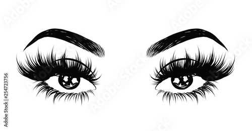Abstract fashion illustration of the eye with creative makeup Fototapeta