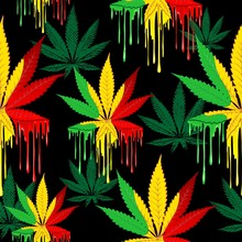 Marijuana Leaf Rasta Colors Dr...