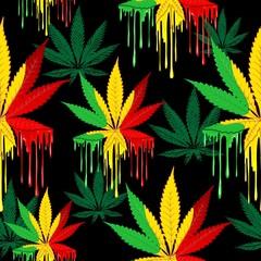 List marihuane Rasta boje kaplje boje vektor bešavni uzorak