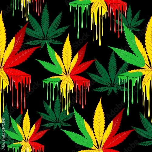 La pose en embrasure Draw Marijuana Leaf Rasta Colors Dripping Paint Vector Seamless Pattern