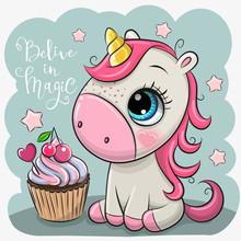 Cartoonl Unicorn With Cupcake ...