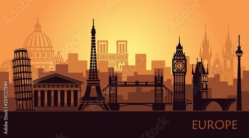Garden Poster Brown Abstract urban landscape with the sights of Europe
