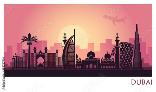 Garden Poster Brown Abstract Dubai city landscape with sunset background