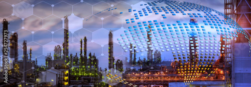 Poster Vegetal Oil refinery plant background for your work .