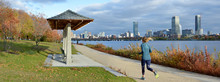 Boston Skyline And Charles River Bank In The Fall, Panoramic View