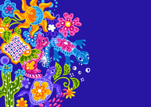 Mexican Background With Cute N...