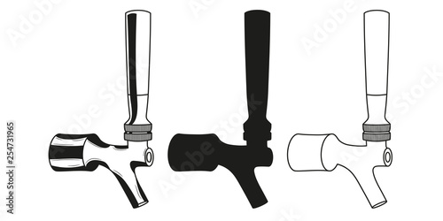 Leinwand Poster Set beer taps icon. Vector illustration.