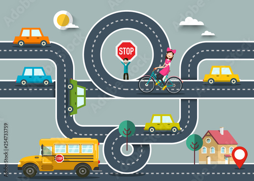 Poster de jardin Route City Road Map with Cars and Destination Pin. Vector Flat Design Road with Man Holding Stop Sign and Woman on Bicycle.