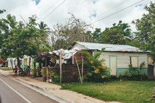 Classical Caribbean Wooden House. Dominican Republic.. Colorful Caribbean House. Wodden House In Dominican Republic,