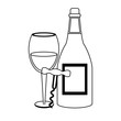 Wine and gastronomy concept black and white