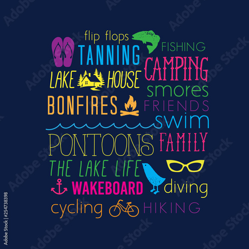 Fotografie, Obraz  Summer Vacation Lake Life Words Collage Camping Smores Family Diving Wakeboard L