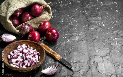 Pinturas sobre lienzo  Pieces of onions in a bowl and onions in the sack with a knife.
