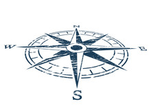 Compass Wind Rose In Vintage S...