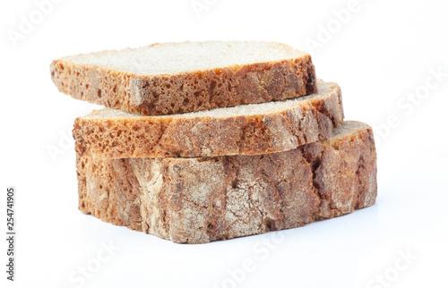 Fotografie, Obraz  Sliced rye bread. Isolated on white background.