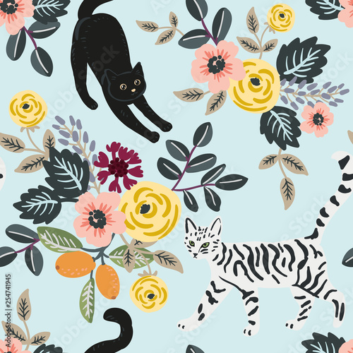 obraz PCV Cute cats and floral bouquets on the light blue background. Vector seamless pattern. Pets and flowers. Nature print. Digital illustration with animals