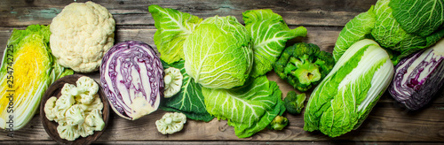 Lot of fresh juicy cabbage. Tableau sur Toile