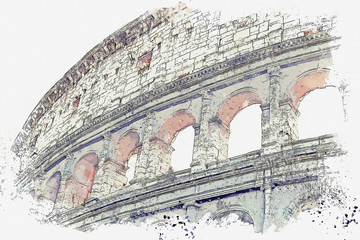 FototapetaWatercolor sketch or illustration of a beautiful view of the Colosseum in Rome in Italy