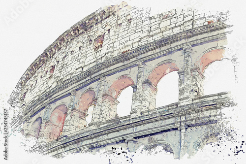 Watercolor sketch or illustration of a beautiful view of the Colosseum in Rome i Canvas Print