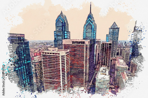 Photo  Watercolor sketch or illustration of a beautiful view of the Philadelphia with u